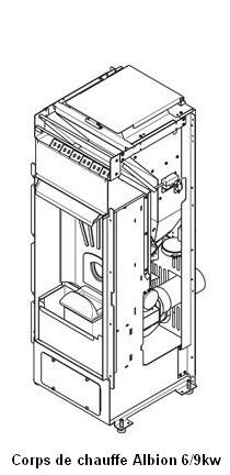 Corps de chauffe à ventilation frontale ALBION 6kw/ 9kw