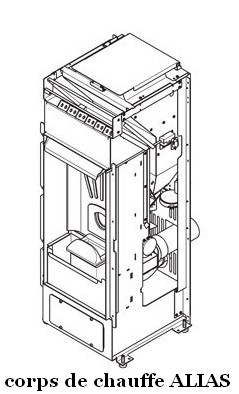 Corps de chauffe avec sortie de fumées intégrée ALIAS 8 kW